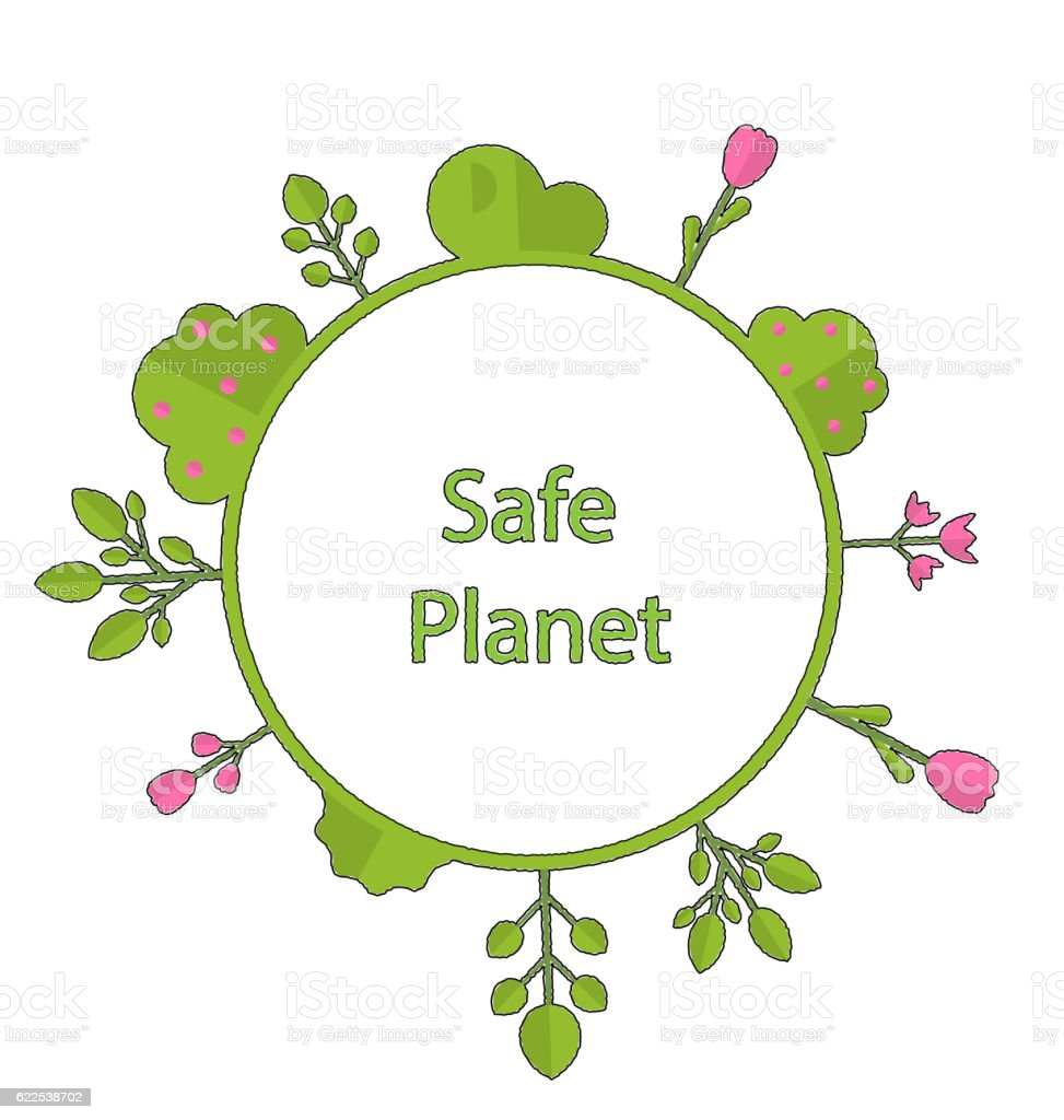 Frame Form Circle Green Earth Plant Flower Cry Safe Planet Stock ...
