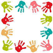 Frame from imprint of multi-colored paint of children's palms. Template for poster, postcard, banner, social networks. Stock vector illustration. Isolated objects on a white background. Childhood, joy