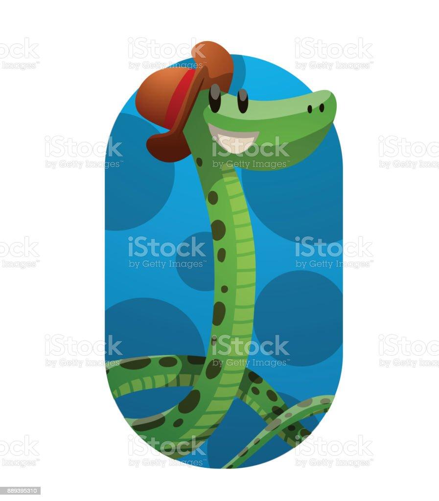 Ilustración de Marco Divertida Serpiente Verde Con Un Pequeño ...
