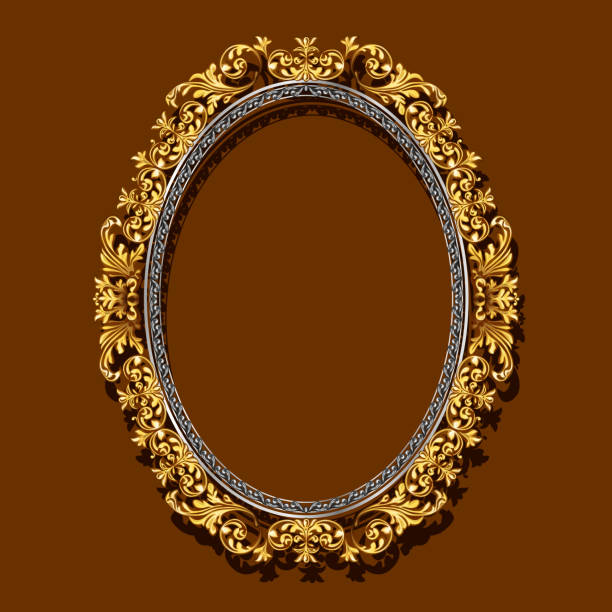 Frame Gold Color With Shadow Vector Art Illustration