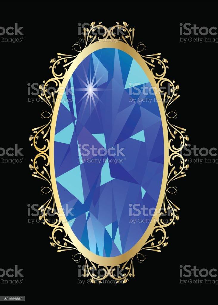 Joya Del Marco Oro Turquesa De Vector De Diamante - Arte vectorial ...