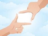 frame hand sign on blue sky illustration vector