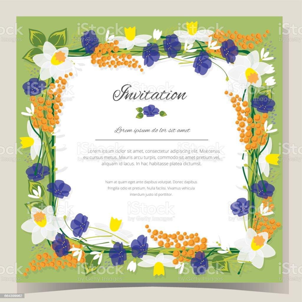 Frame happy birthday card frame wedding invitation card with frame happy birthday card frame wedding invitation card with flowers vector illustration royalty free stopboris Choice Image