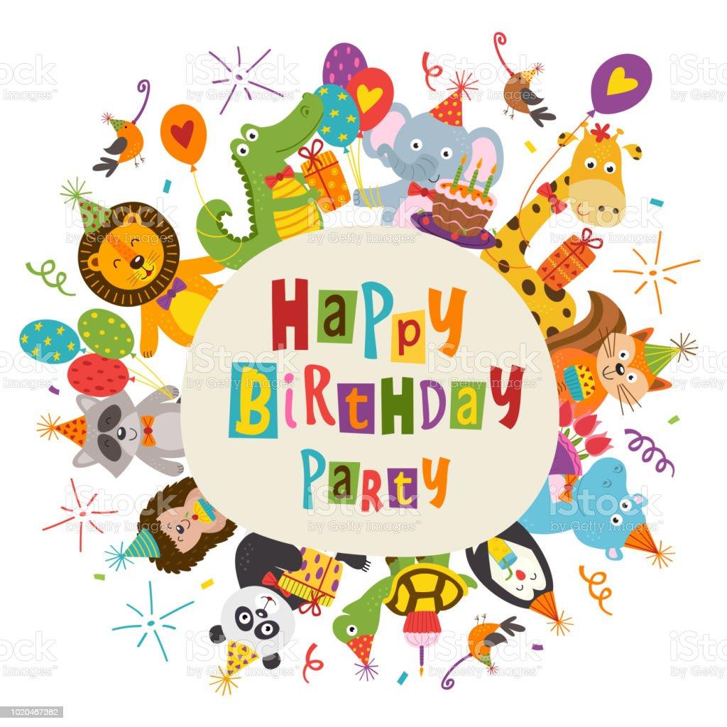 Rahmen Sie Happy Birthdaymit Lustigen Tieren Stock Vektor Art und ...