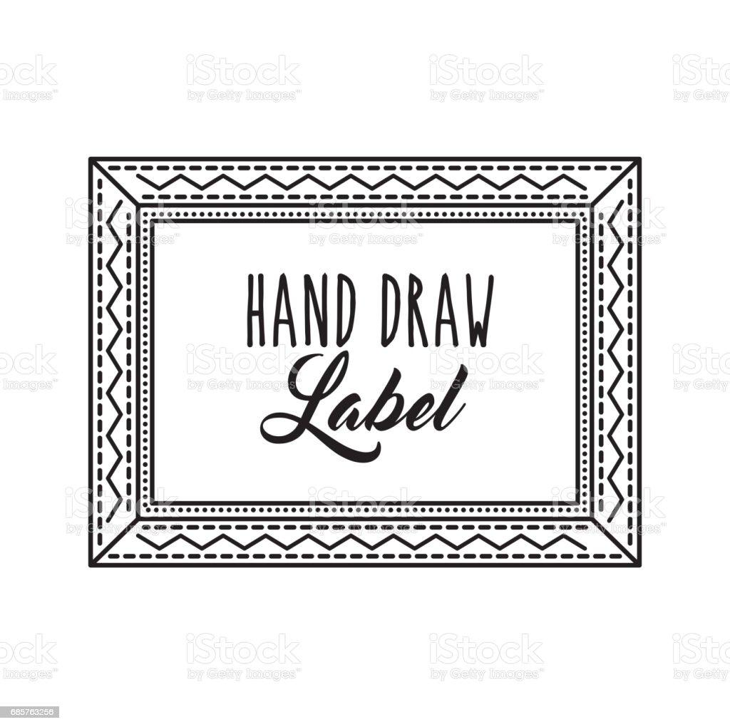 Frame icon. Hand draw label design. Vector graphic frame icon hand draw label design vector graphic - stockowe grafiki wektorowe i więcej obrazów bukiet royalty-free