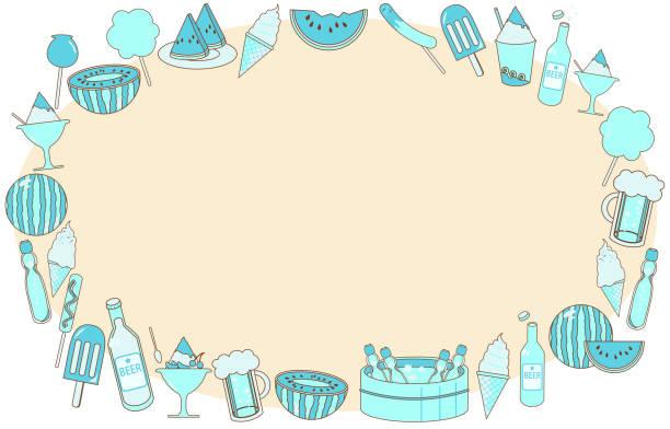 Frame illustration of material gathering summer food vector art illustration