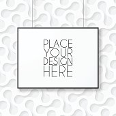 Realistic blank frame in horizontal position, isolated on an abstract background, white rounded pattern.
