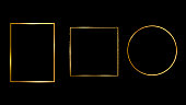 Golden light frame. Vector golden frame with lights effects. Shining rectangle banner. Set of the frames