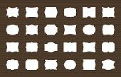 Frame label set. Blank frames decorative shapes, retro labels. Elegant sticker decoration, paper tags. Vector collection for card design and scrapbooking