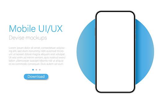 Frame less smartphone. Mobile phone mockup with blank screen. UI / UX design. Vector illustration, digital devise, digital template.
