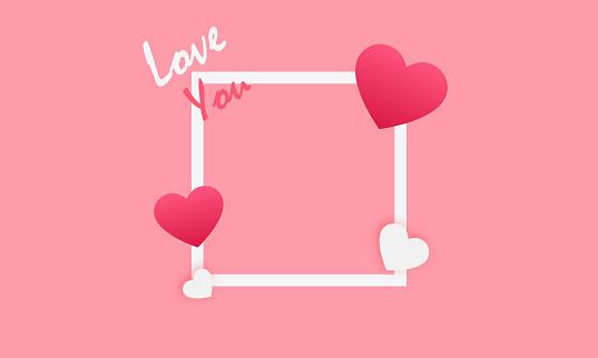 frame love sign. hearts,love you vector stock illustration
