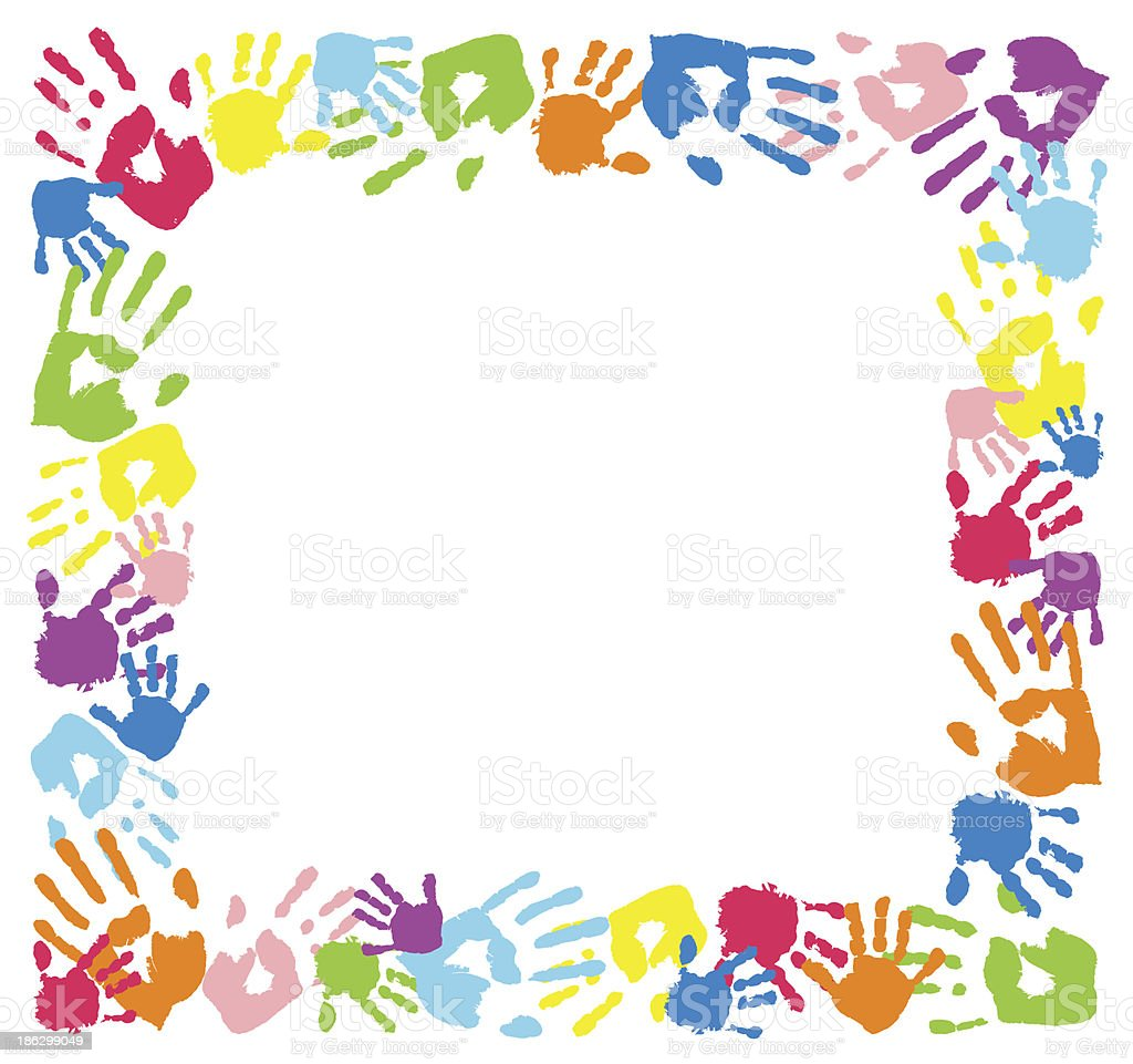 Frame made from color handprints. vector art illustration