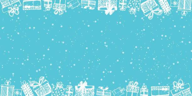 rahmen aus geschenken. vektor-vorlage von zeitschriften, poster. geschenke rund um anzeige. shopping-verkaufsbanner. von hand gezeichnet. vektor-illustration - weihnachtsgeschenk stock-grafiken, -clipart, -cartoons und -symbole