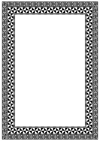 Frame made of pattern inspired by Fiji and Pacific Islands traditional design elements.