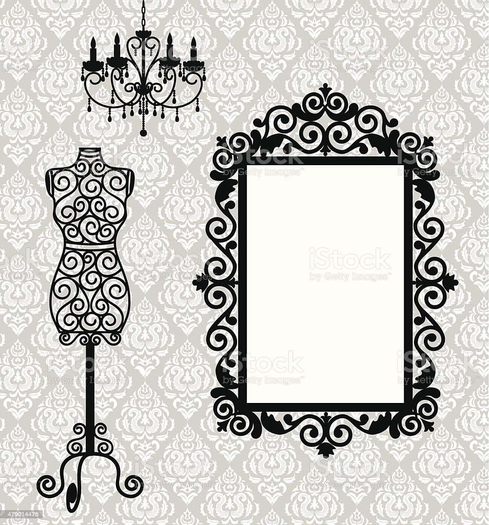 frame, mannequin and chandelier vector art illustration