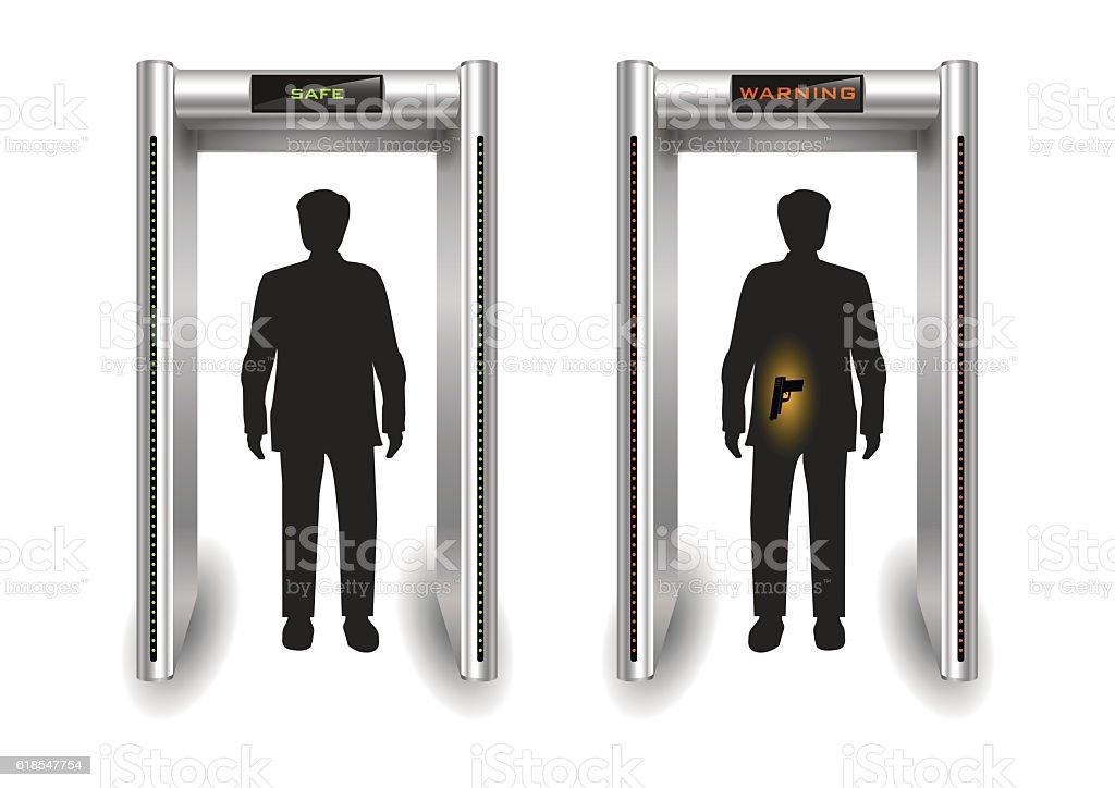 Frame metal detector portal vector art illustration