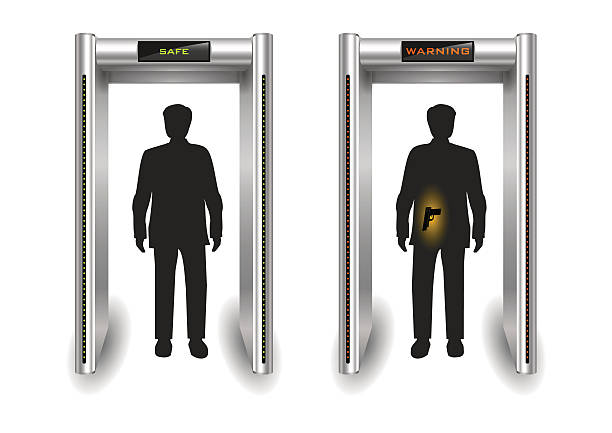 Frame metal detector portal Portal frame metal detector controls for the airport or customs. Vector graphics airport borders stock illustrations