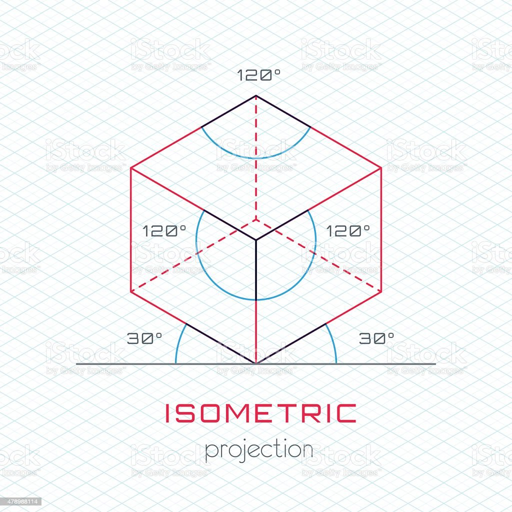 Frame Object in Axonometric Perspective - Isometric Grid Templat vector art illustration