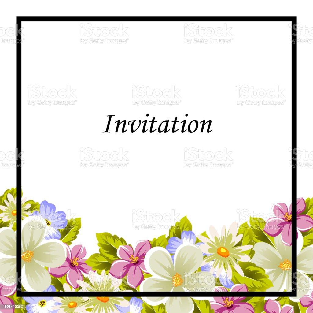 Rahmen Von Ein Paar Blumen Für Die Gestaltung Von Karten Einladungen ...