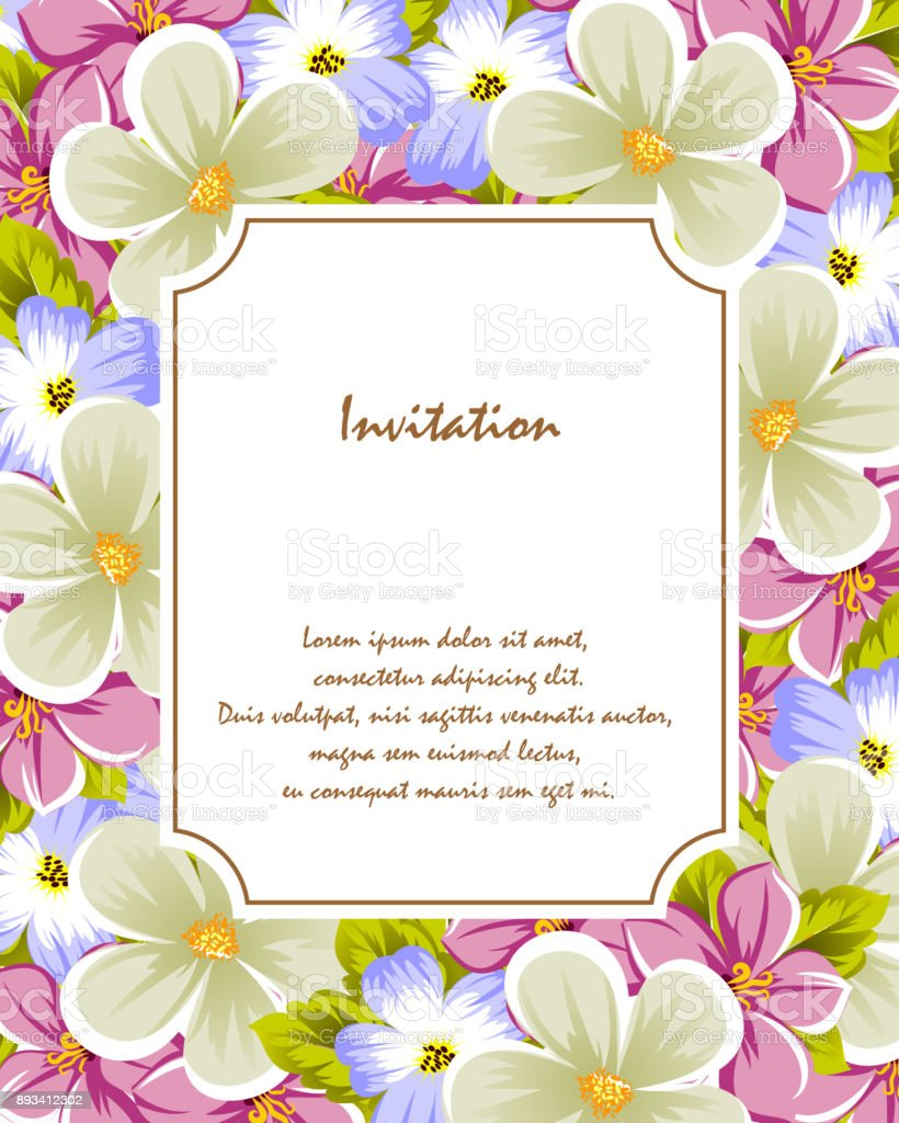 Frame Of A Few Flowers For Design Of Cards Invitations Greeting For