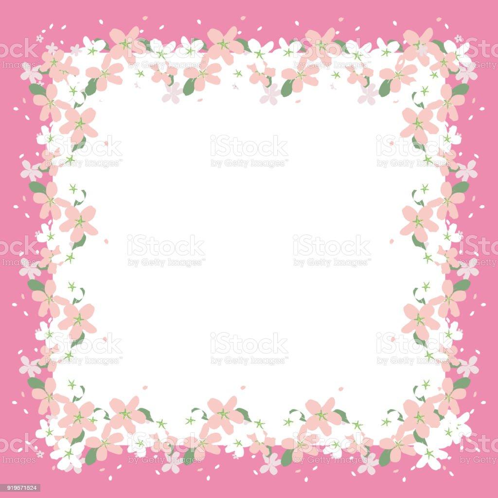 Rahmen Der Schöne Blume In Einem Rosa Rand Grußkarte Vektor Stock ...