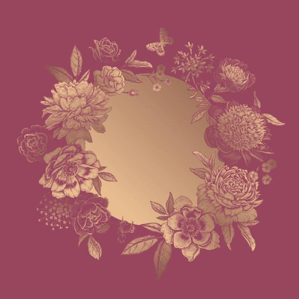 rahmen von schönen goldenen pfingstrosen und gartenblumen. blumenkranz und schmetterlinge. - gartenfolie stock-grafiken, -clipart, -cartoons und -symbole