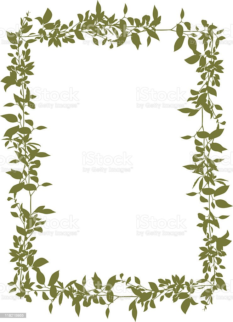 Frame Of Branches With Leaves Stock Vector Art & More Images of ...