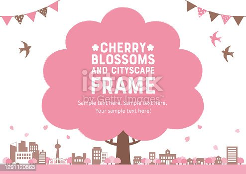 Frame of cherry blossoms and cityscape/ white background