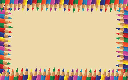 frame of colour pencils