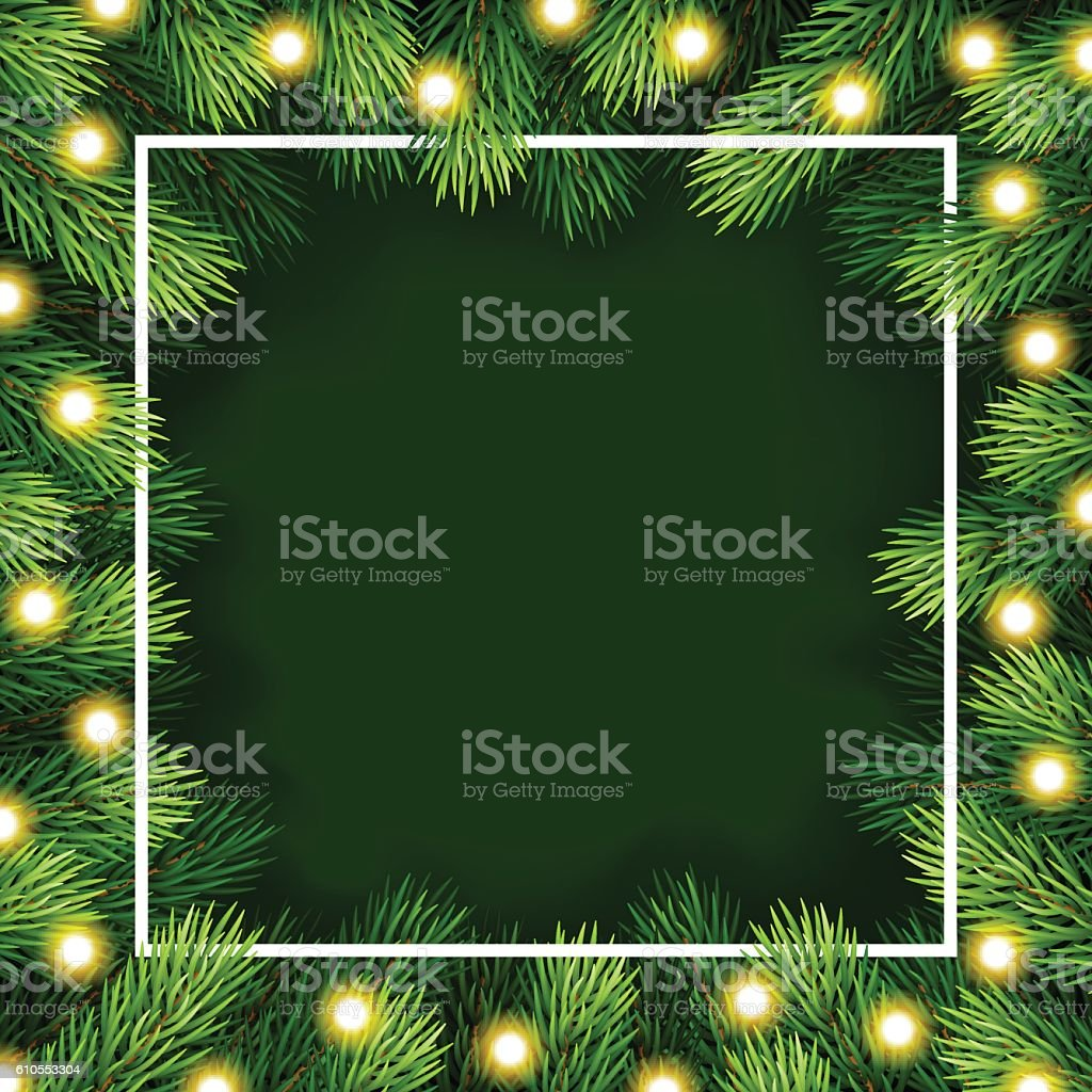 Frame of detailed Christmas tree branches on isolated background – Vektorgrafik