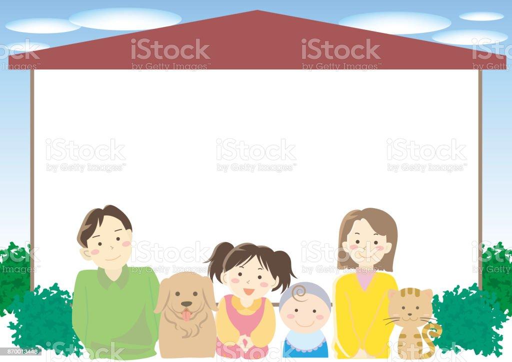 Frame of Family and new house vector art illustration