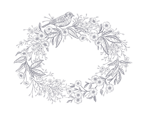 Frame of field flowers and bird. Floral wreath. Black and white.