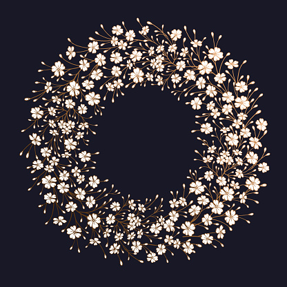 Frame of field flowers. Floral wreath. Black, white and gold.