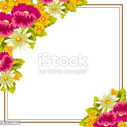 Frame of flowers for card designs greeting cards birthday frame of flowers for card designs greeting cards birthday invitations valentines day party holiday stock vector art more images of abstract 919716902 m4hsunfo