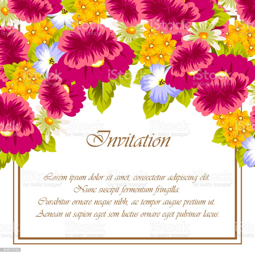 Frame Of Flowers For Card Designs Greeting Cards Birthday