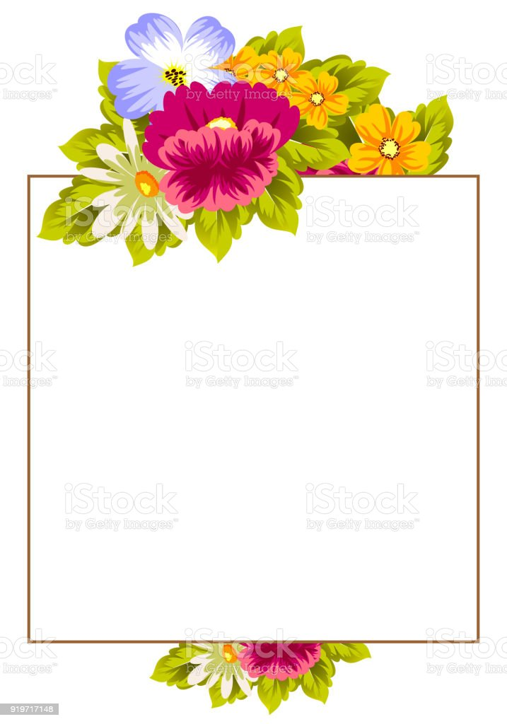 Frame Of Flowers For Card Designs Greeting Cards Birthday ...
