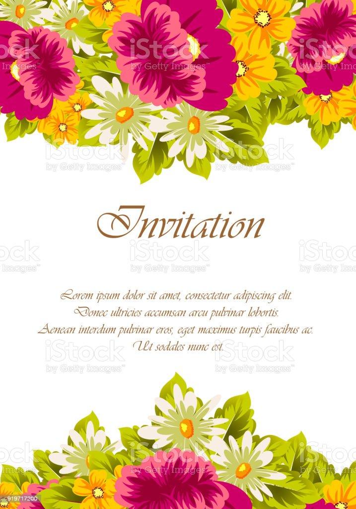 Frame Of Flowers For Card Designs Greeting Cards Birthday Invitations Valentines Day Party Holiday Stockowe Grafiki Wektorowe I Więcej Obrazów
