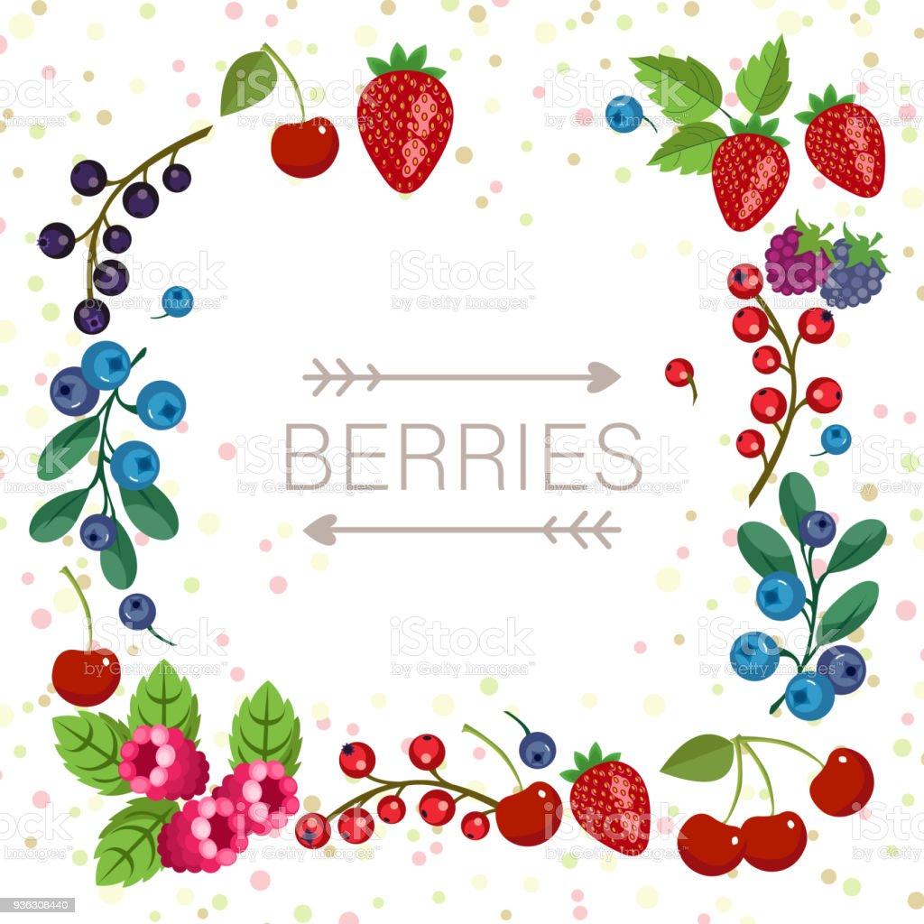 Ilustración de Marco De Frutas Jardín Con Lugar Para El Texto Estilo ...