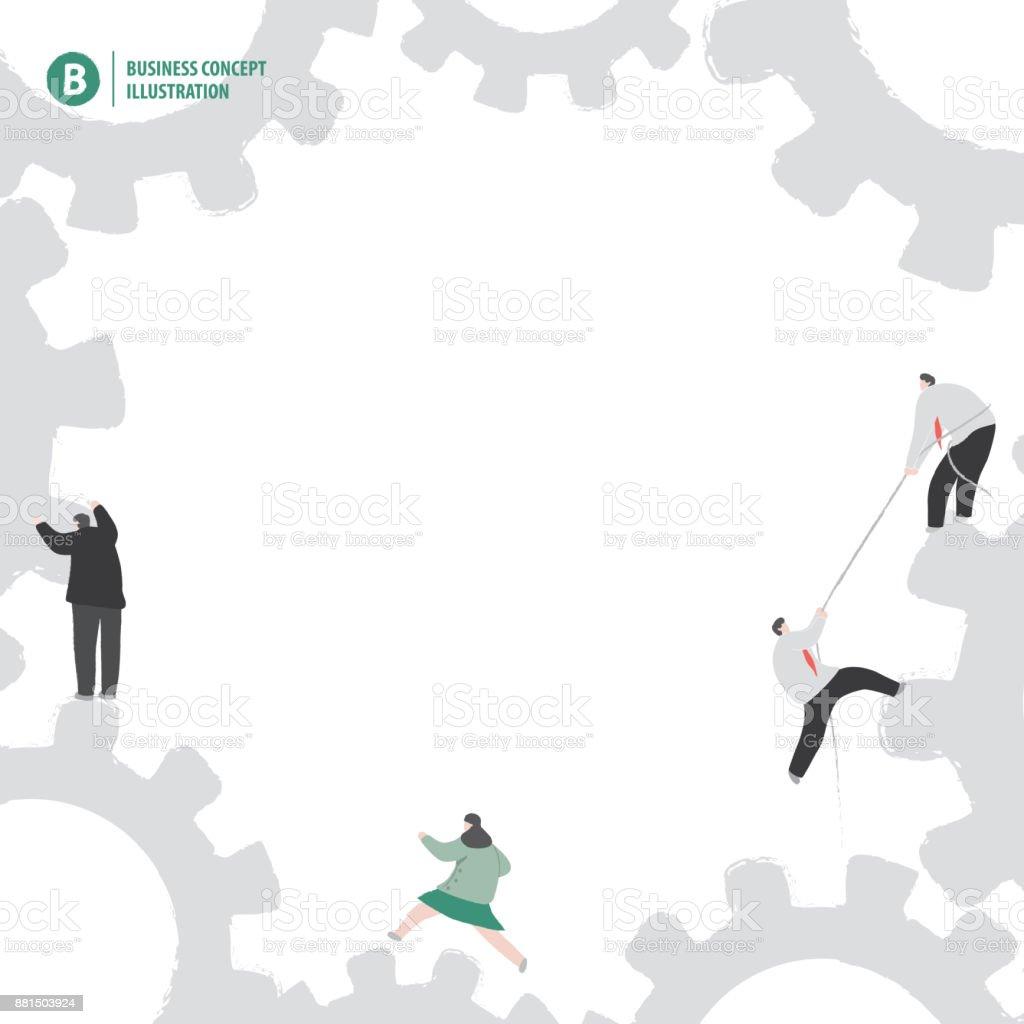 Kader van vistuig en zakenman groep bezig met witte achtergrond illustratie vector. Bedrijfsconceptvectorkunst illustratie
