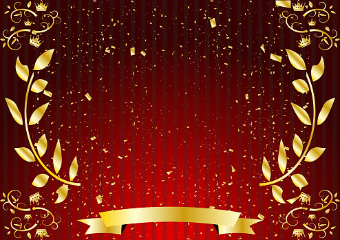frame of golden leaf pattern and red striped backdrop