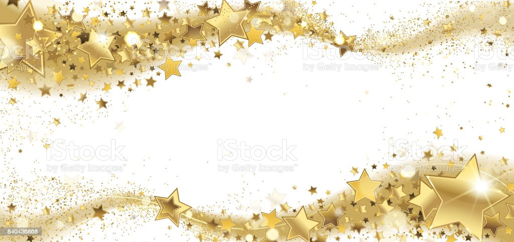 Frame of Golden Sparkling Stars vector art illustration