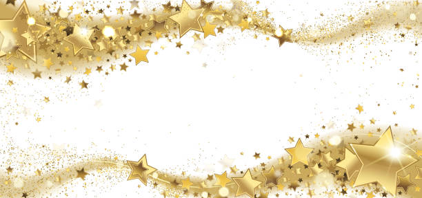 Frame of Golden Sparkling Stars vector art illustration