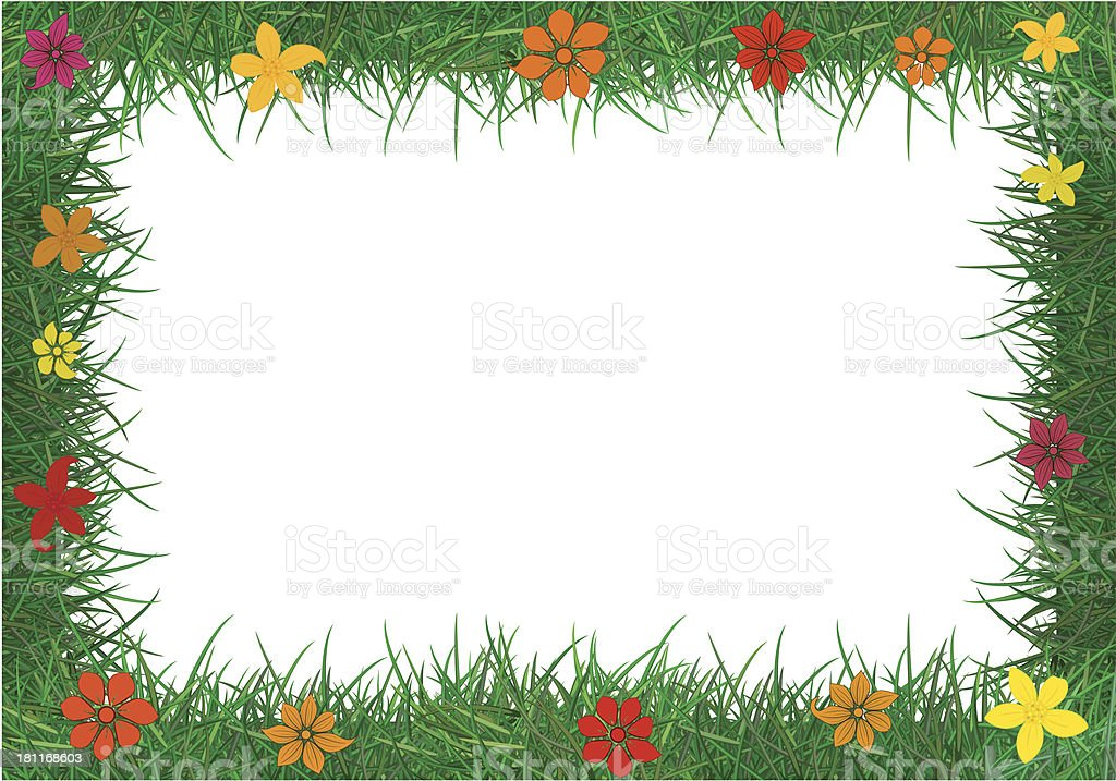 Frame of green grass. vector art illustration