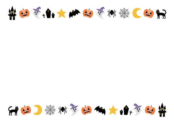 frame of halloween - halloween candy stock illustrations