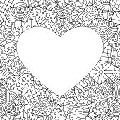 Vector frame of hand-drawn abstract hearts, coloring page for children and adults