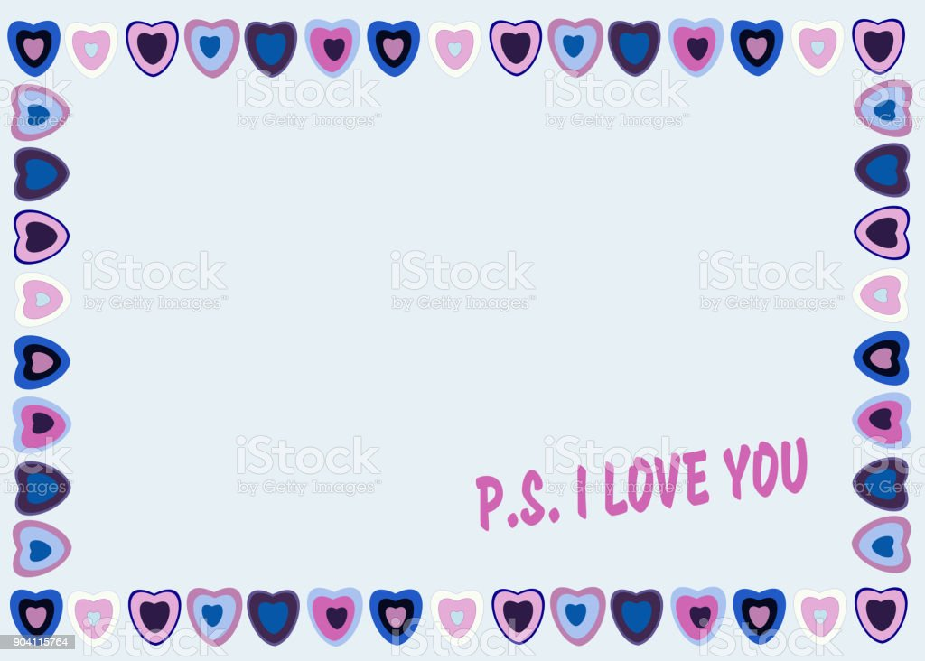 Download Frame Of Hearts On Blue Background With Text Ps I Love You ...