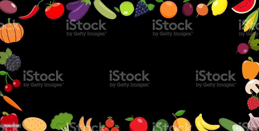 Frame of organic food. Fresh vegetables with fruits. On a blackboard - Royalty-free Apple - Fruit stock vector