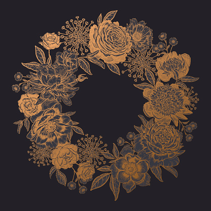 Frame of peonies, roses and garden flowers. Floral wreath. Black and gold.