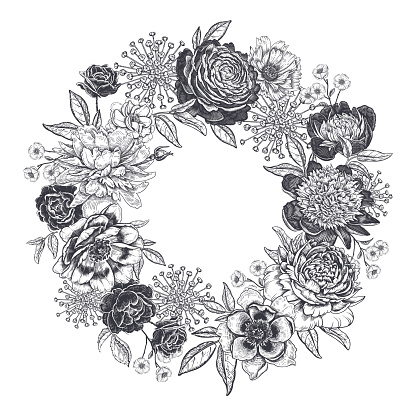 Frame of peonies, roses and garden flowers. Floral wreath. Black and white.