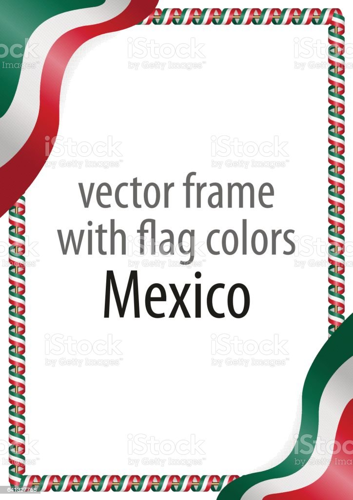 frame of ribbon with the colors of the mexico flag stock vector art